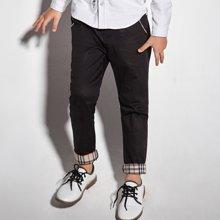 迪斯兔/disitu男童英伦风休闲长裤儿童裤子中大童翻边长裤白色裤子秋季新款X1771