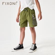 FIXONI 男童裤子夏装2019新款军色多袋裤子短裤中大童五分裤男潮BK2001