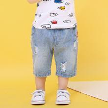 ocsco 夏季新款童装?#34892;?#31461;休闲印花牛仔儿童裤皮筋腰带男童短裤