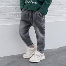 ocsco 男童牛仔裤春夏装新款时尚侧边字母印花中小童宽松休闲童装长裤男