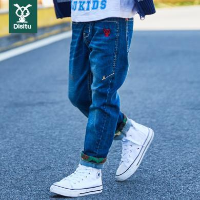 迪斯兔 男童褲子純棉長褲牛仔褲洋氣時尚童裝中大童休閑褲子修身小腳潮流K2028