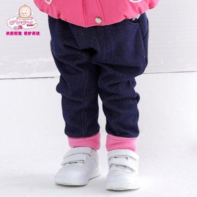 丑丑婴幼女宝宝绒料哈伦裤 大屁屁裤女童秋冬保暖裤6个月-4岁CGE060X