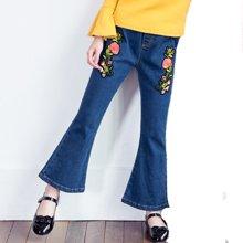 米妮哈鲁童装2018春装新款女童牛仔裤大童长裤儿童刺绣喇叭裤