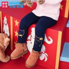 米妮哈鲁童装2018冬装新款女童韩版婴幼卡通加绒打底裤YC5152徍