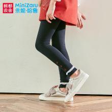 米妮哈鲁童装2018冬装新款女童韩版儿童加厚长裤加绒裤子ZG7209燚