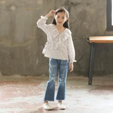 诗茵2019夏季新款韩版童装紧身破洞女童牛仔裤中大童修身裤子8060545