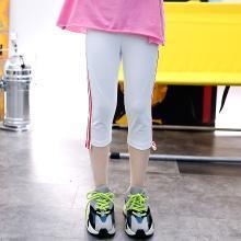 澜囝囡  2019夏季新韩版儿童弹力修身小脚裤女童洋气七分裤  织带七分打底裤
