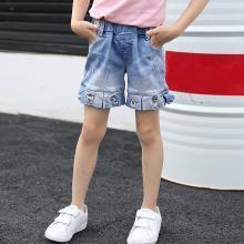 ocsco 女童裤夏季新款休闲女童牛仔短裤时尚刺绣百搭中小童热裤女