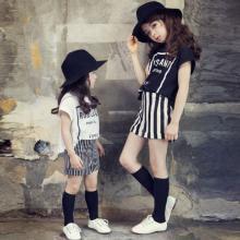 诗茵新款夏季韩国女童套装中大儿童短袖T恤条纹短裤亲子套装K16-08