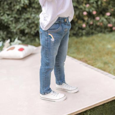 Cicie 2019秋季新款儿童牛仔裤韩版中小童裤女童长裤子  C93212