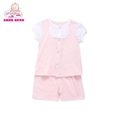 丑丑嬰幼夏季新款1-3歲男女寶寶中性純棉前開內衣家居服套裝