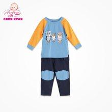 丑丑婴幼秋新款男童春季套装儿童长袖圆领秋套装男宝宝衣服