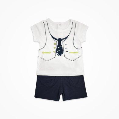 丑丑嬰幼 男童短袖套裝夏季新款1-2歲男寶寶時尚套頭外出服套裝 CHE749X