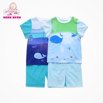 丑丑婴幼 夏季男宝宝卡通动漫短袖套装 男童纯棉短袖套装CHE746X