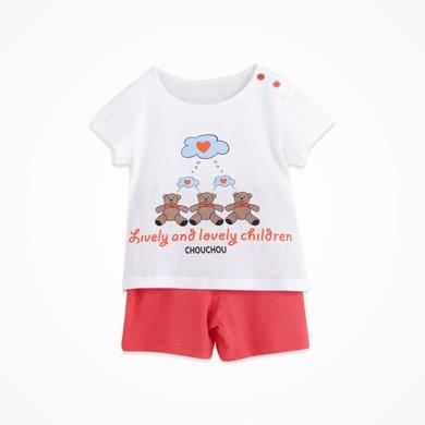 丑丑嬰幼夏季新款男寶寶純棉休閑套頭圓領排汗吸熱短袖針織套裝 CFE706T