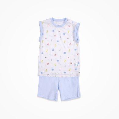 丑丑嬰幼男寶寶肩開無袖套裝夏季新款男童休閑肩開套裝1-3歲