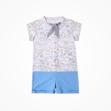 丑丑嬰幼 夏季新款男童休閑外出短袖套裝男寶寶襯衫套裝CJE715X