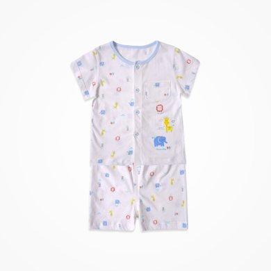 丑丑婴幼 夏季男女童休闲短袖套装宝宝前开套装 CJD719X