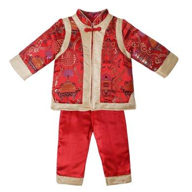 丑丑嬰幼  冬季男寶寶中國風吉祥對襟套裝 男童時尚立領喜慶棉衣套裝 1-4歲 CKE720W