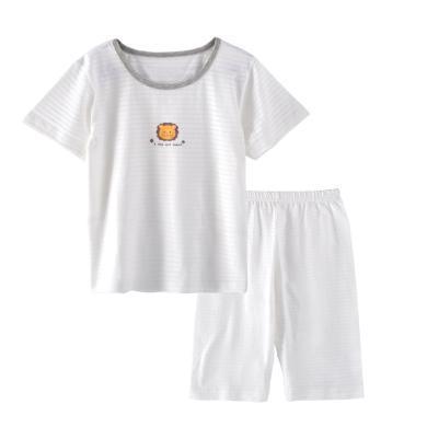 爸妈亲儿童短袖套装男童夏天家居服睡衣套装儿童短袖T恤短裤两件装空调服86272