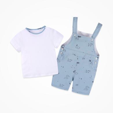 丑丑嬰幼 男童卡通短袖套裝夏季新款男寶寶背帶褲套裝1-3歲 CNE723X