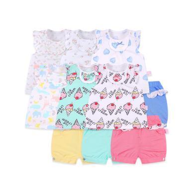 丑丑嬰幼 夏季女寶寶純棉時尚套裝女童小飛袖寶寶套裝6個月-3歲 CFE755T