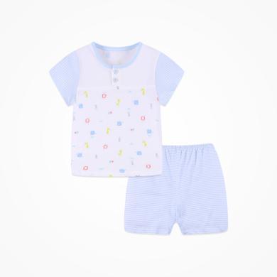丑丑嬰幼 男女寶寶前半開套裝夏季男女童純棉卡通短袖內衣家居服套裝 CJD713X