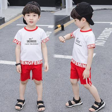 美純衣天使男童夏2019新款運動童套裝中小童字母兩件套PWY-PPC休閑運動套