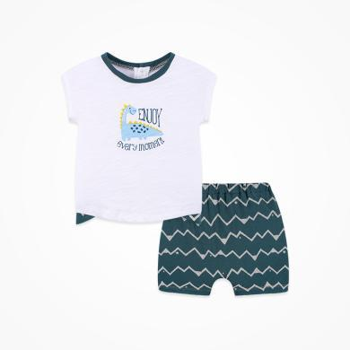 丑丑嬰幼 新款男寶寶卡通針織套裝夏季男童后半開純棉短袖套裝1-3歲 CNE721X