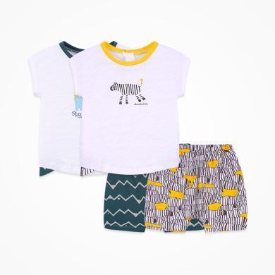丑丑婴幼 男宝宝卡通针织套装夏季男童后半开纯棉短袖套装1-3岁 CNE721X