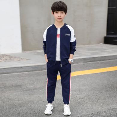 謎子 童裝套裝秋季新款男童兩件套中大童運動套裝拼色外套運動長褲時尚穿搭