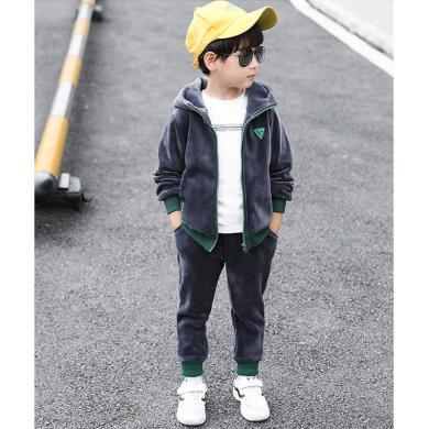 ocsco 男童套裝冬季新款童裝兩件套中大童雙面絨套褲加絨加厚童裝