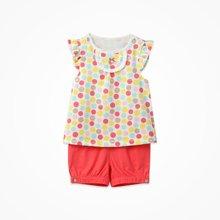 丑丑嬰幼女童波點套裝夏季新款半歲-2歲女寶寶外出妹妹衫短套裝