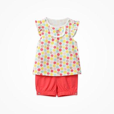 丑丑嬰幼女童波點套裝夏季新款半歲-2歲女寶寶外出妹妹衫短套裝CFE757X