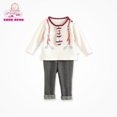丑丑婴幼 男宝宝长袖圆领时尚套装秋冬男童保暖抓绒套装CGE727X