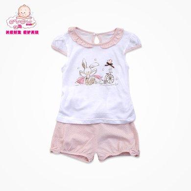 丑丑嬰幼夏季女寶寶純棉圓領套服 小飛袖清爽幼兒娃娃領童裝女 6個月-3歲WBE7508
