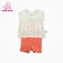 丑丑婴幼 夏季新款0-2岁女宝宝纯棉圆点前开短袖外出服套装