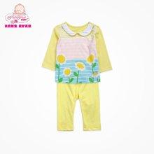 丑丑嬰幼春季新款女寶寶6個月-2歲純棉印花長袖外出服套裝