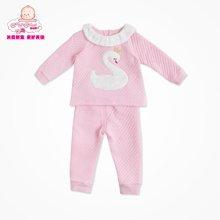 丑丑婴幼 春季新款套装1-3岁女宝宝卡通可通爱夹棉保暖女童套装