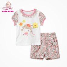 丑丑嬰幼夏裝新款寶寶套裝 女童純棉淑女夏季套裝 女寶寶韓版夏裝