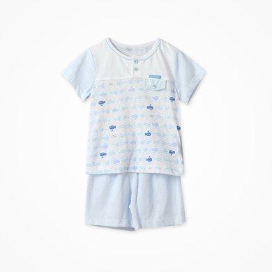 丑丑嬰幼夏季新款男女寶寶休閑家居可愛純棉前半開短袖T恤套裝