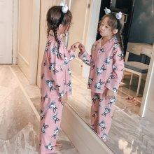 领秀范儿儿童睡衣女纯棉长袖女童家居服春秋女孩睡衣套装公主宝宝全棉童装 KS1022