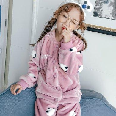 領秀范兒秋冬季兒童睡衣法蘭絨女孩女童睡衣珊瑚絨加厚冬天中大童家居服SH2007
