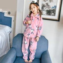 领秀范儿儿童法兰绒睡衣女童秋冬季加厚款长袖套装珊瑚绒小孩子卡通家居服 SH2008