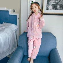 领秀范儿儿童法兰绒睡衣女童秋冬季厚款长袖套装珊瑚绒小孩子卡通家居服萌SH2010