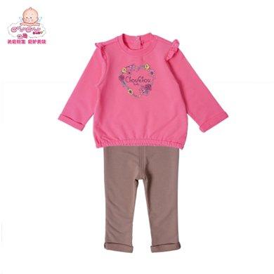 丑丑嬰幼 女寶寶衛衣套裝新款長袖休閑外出服套裝CKE757X