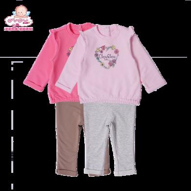 丑丑婴幼 女宝宝时尚卫衣套装 春秋季女童长袖休闲套装CKE757X