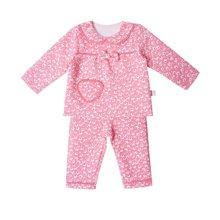 丑丑婴幼 新款女宝宝纯棉印花套装春秋女童碎花蝴蝶结套装 6个月-3岁