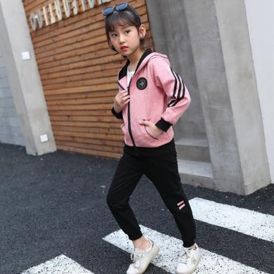 ocsco 兒童運動套裝女童裝春秋裝新款連帽衛衣+衛褲中大童衛衣兩件套女童裝