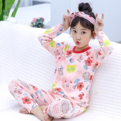 ocsco 兒童睡衣套裝女春秋裝新款粉色印花長袖上衣+褲子配套中大童家居服女